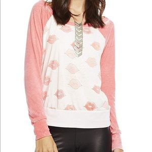 Chaser Kissy Lips Long Sleeve Burnout Tee